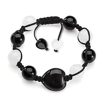 Magie Herzen Yin Yang Kräfte Amulett schwarzer Achat weißem Quarz Positive Energie Glücksbringer Armband