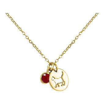 Kot GEMSHINE wisiorek z gem Red Ruby. Litego srebra próby 925, złocone lub naszyjnik 45cm. Prezent dla pieścić właściciel, kochanka - wykonane w Hiszpanii