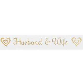 15mm White Husband & Wife Gold Printed Ribbon - 20m   Ribbons & Bows for Crafts