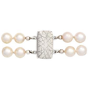 Ghiaccio di gioielli magnetici collana fibbia quadrata 925 sterling silver blocco Matt collana di perle