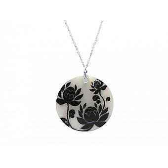 Necklace pendant - Locket - roses - silver - black - 5 cm - necklace-