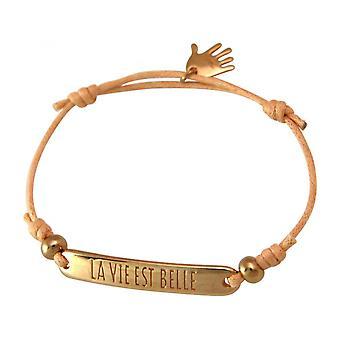 Women - bracelet - engraved - LA VIE EST BELLE - rose gold plated - bright coral - rose
