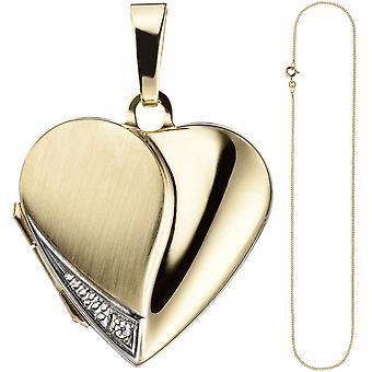 Медальон сердце кулон открыть для фотографий 333 золото 1 кубический цирконий ожерелье 45 см