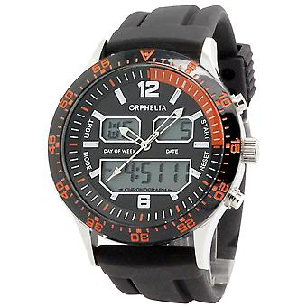 ORPHELIA Mens Analogue Digital Watch Eclips Black Silicone 122-6912-44