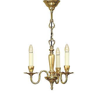 Interiors 1900 Asquith Solid Polished Brass Candle Chandelier 3 Bulb + Shades