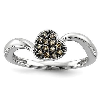Sterling Silver Open back Gift Boxed Rhodium-plated Champagne Diamond Small Heart Ring - Ring Size: 6 to 8