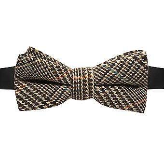 Brown & White Dogtooth Tweed Bow Tie