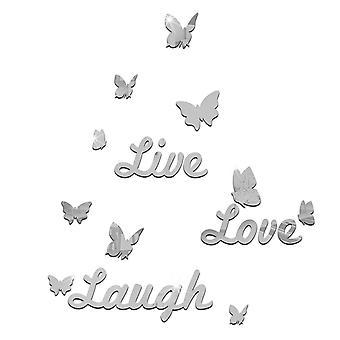 TRIXES ao vivo amor riso prata espelhado com borboletas decalque murais