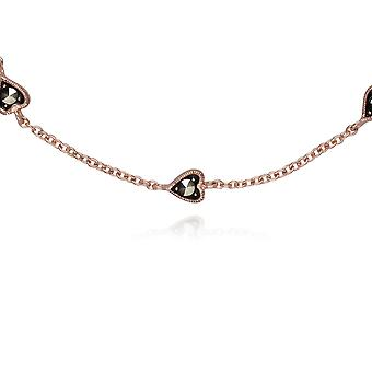 Gemondo Rose Gold Plated Sterling Silver Small Heart Marcasite 19cm Bracelet