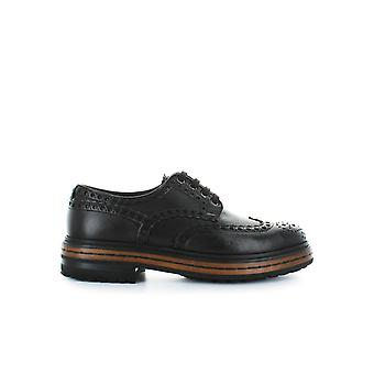 SANTONI DARK BROWN LEATHER DERBY LACE UP