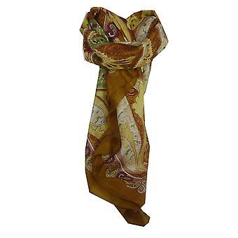 Praça de clássico de seda de Mulberry cachecol Indore ouro por Pashmina & seda
