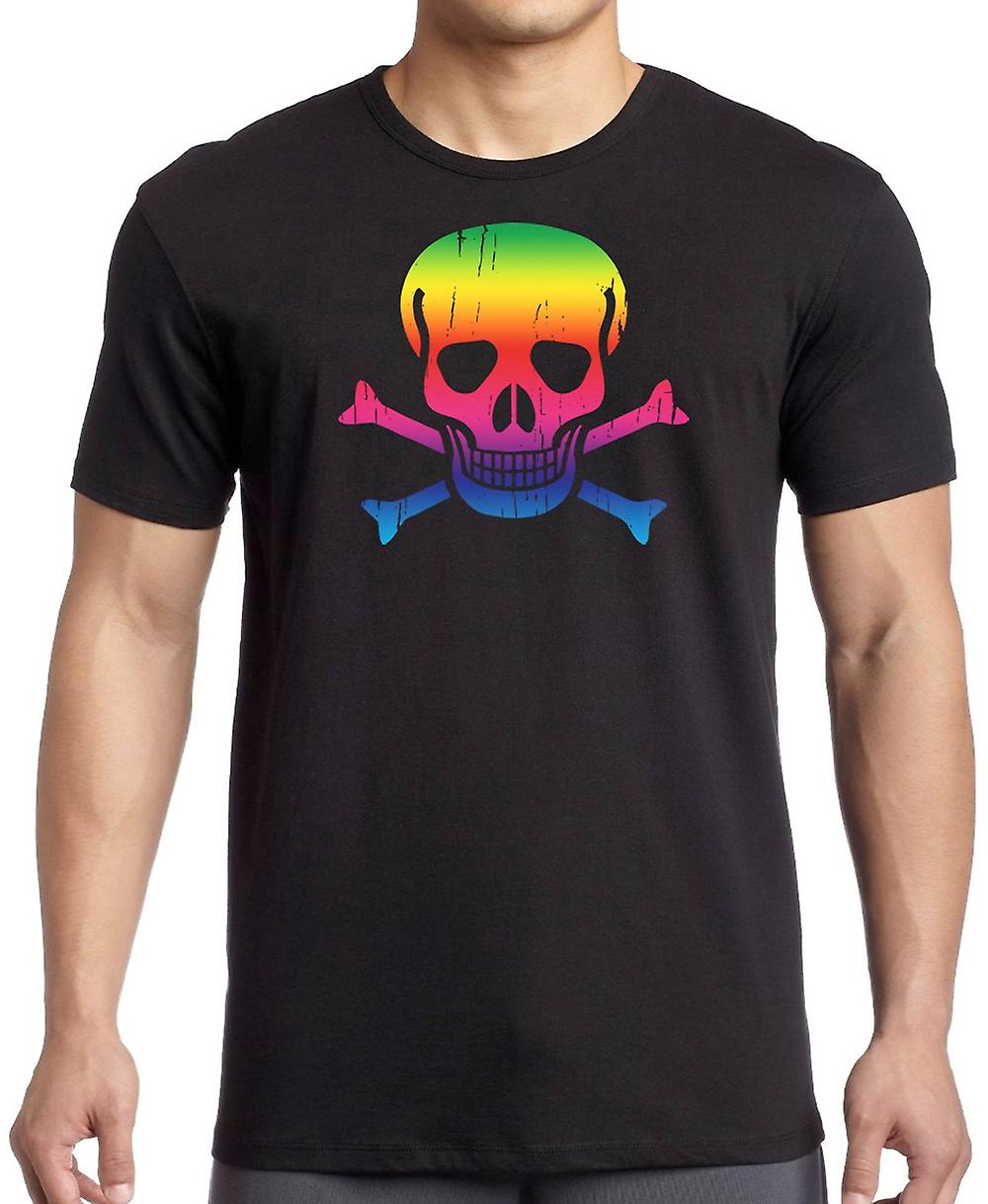 Toxic Skull And Bones - Rainbow T Shirt
