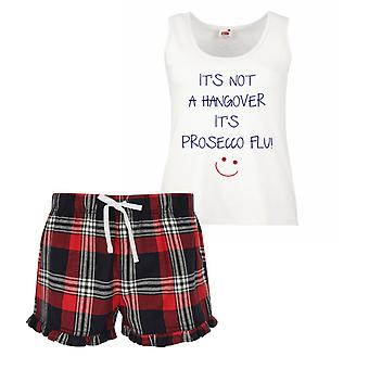 It's Not A Hangover It's Prosecco Flu Ladies Tartan Frill Short Pyjama Set Red Blue or Green Blue