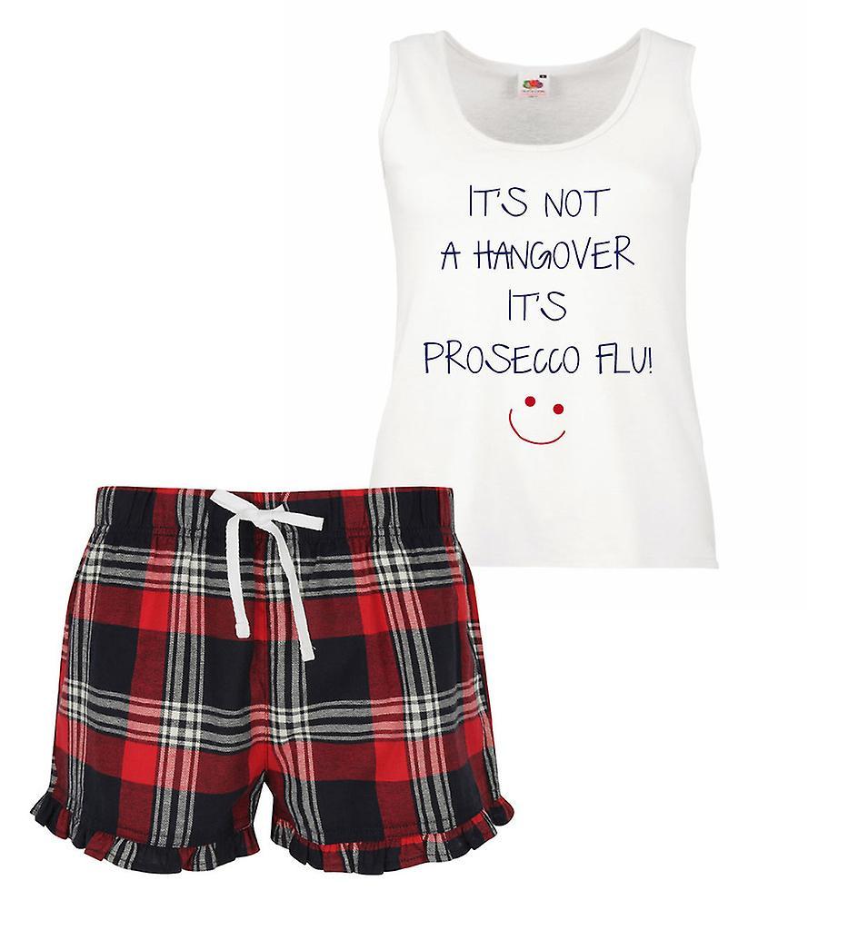 It's Not A Hangover It's Prosecco Flu Ladies Tartan Frill Short Pyjama Set Red Blue or Green Blue