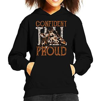Giraffe Tall Confident And Proud Kid's Hooded Sweatshirt