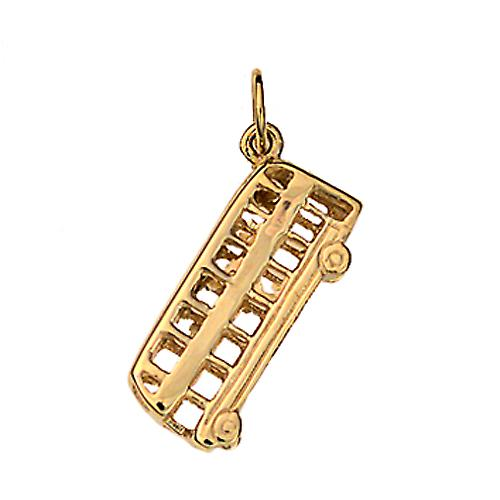9ct Gold 20x8mm Double Decker Bus Pendant or Charm