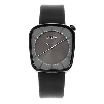 Simplify The 6800 Leather-Band Watch - Black/Charcoal
