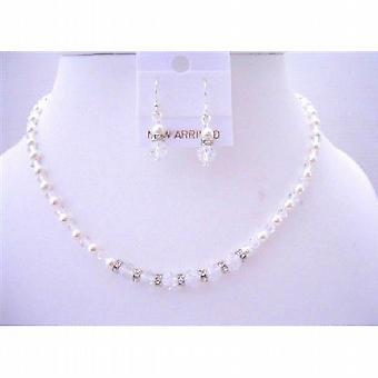 Custom Handcrafted Flower Girl Swarovski Crystals Pearls Jewelry Set