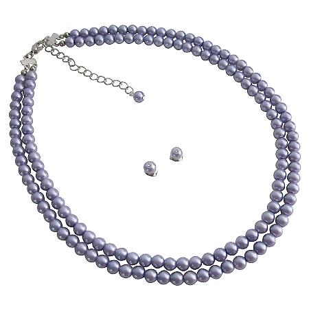 Luster Glass Pearls Purple Double Stranded Necklace Stud Earrings Set