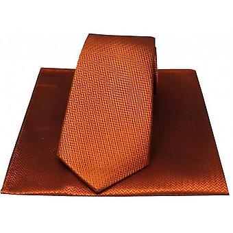 David Van Hagen Fischgräten Krawatte und Taschentuch Set - Rost Orange