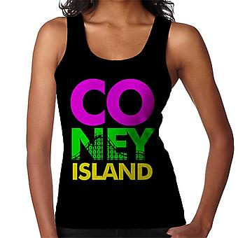 Coney Island Retro Colour Text Women's Vest