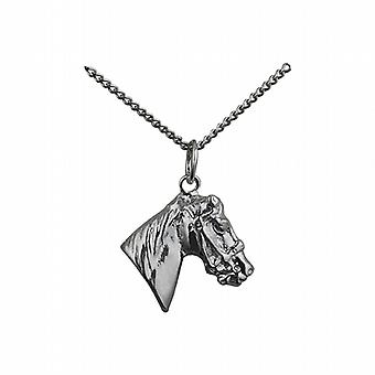Sølv 16x18mm hestens hode anheng med en fortauskant kjeden 24 tommer