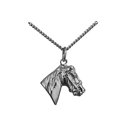 Silver 16x18mm Horse's Head Pendant with a curb Chain 18 inches