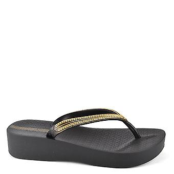 Ipanema Black Mesh Wedge Flip Flop