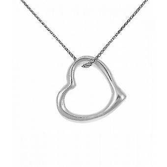 "Cavendish French Sterling Silver Rounded Open Heart Pendant with 16 - 18"" Silver Chain"