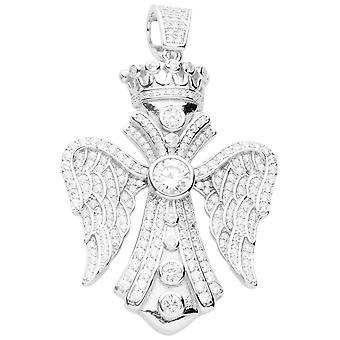 Premium Bling - 925 sterling silver wing cross pendant