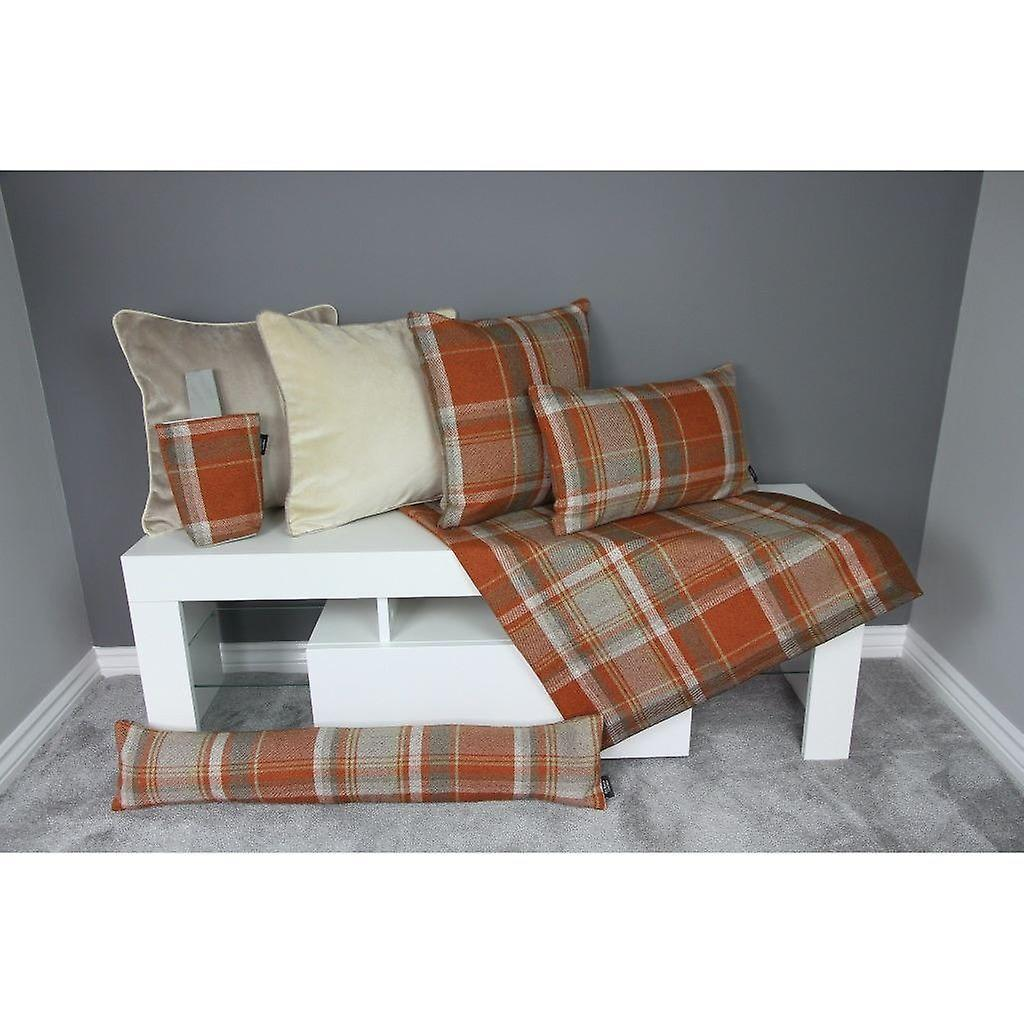 Mcalister textiles heritage tartan burnt orange + grey fabric draught excluder
