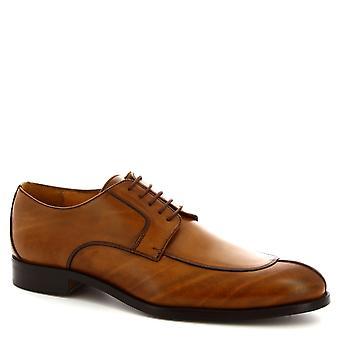 Leonardo Shoes Chaussures Chaussures Homme lacets à la cet homme chaussures élégantes en cuir de veau tan