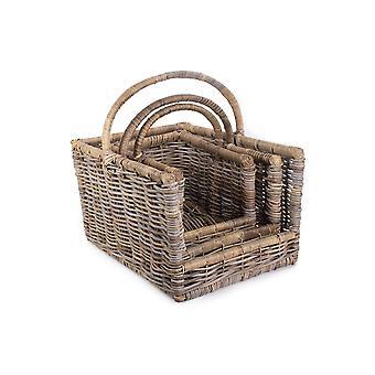 Kubu Grey Rattan Open Terminé Log Basket Set 3