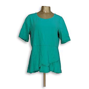 Isaac Mizrahi Live! Women's Top Elbow Sleeve Peplum Flounce Green A303962