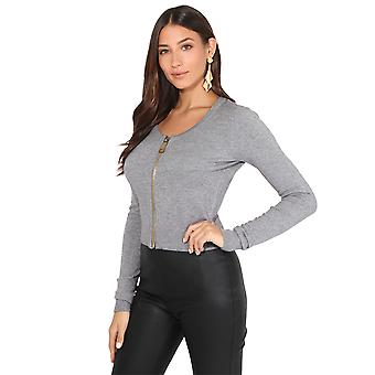 KRISP Zip Front Cropped Cashmere Cardigan