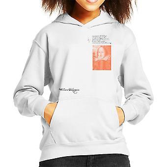 A.P.O.H William Shakespeare Writing Portrait Kid's Hooded Sweatshirt