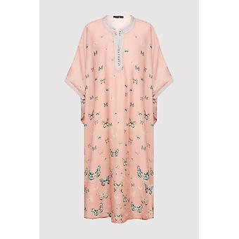 Gandoura dara girl-apos;s short sleeve collarless butterfly print maxi robe en saumon (2-12 ans)