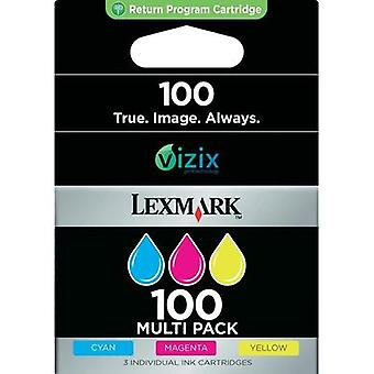 Ink cartridges combo pack Original Lexmark 100 replaced Lexmark 100 Cyan, Magenta, Yellow