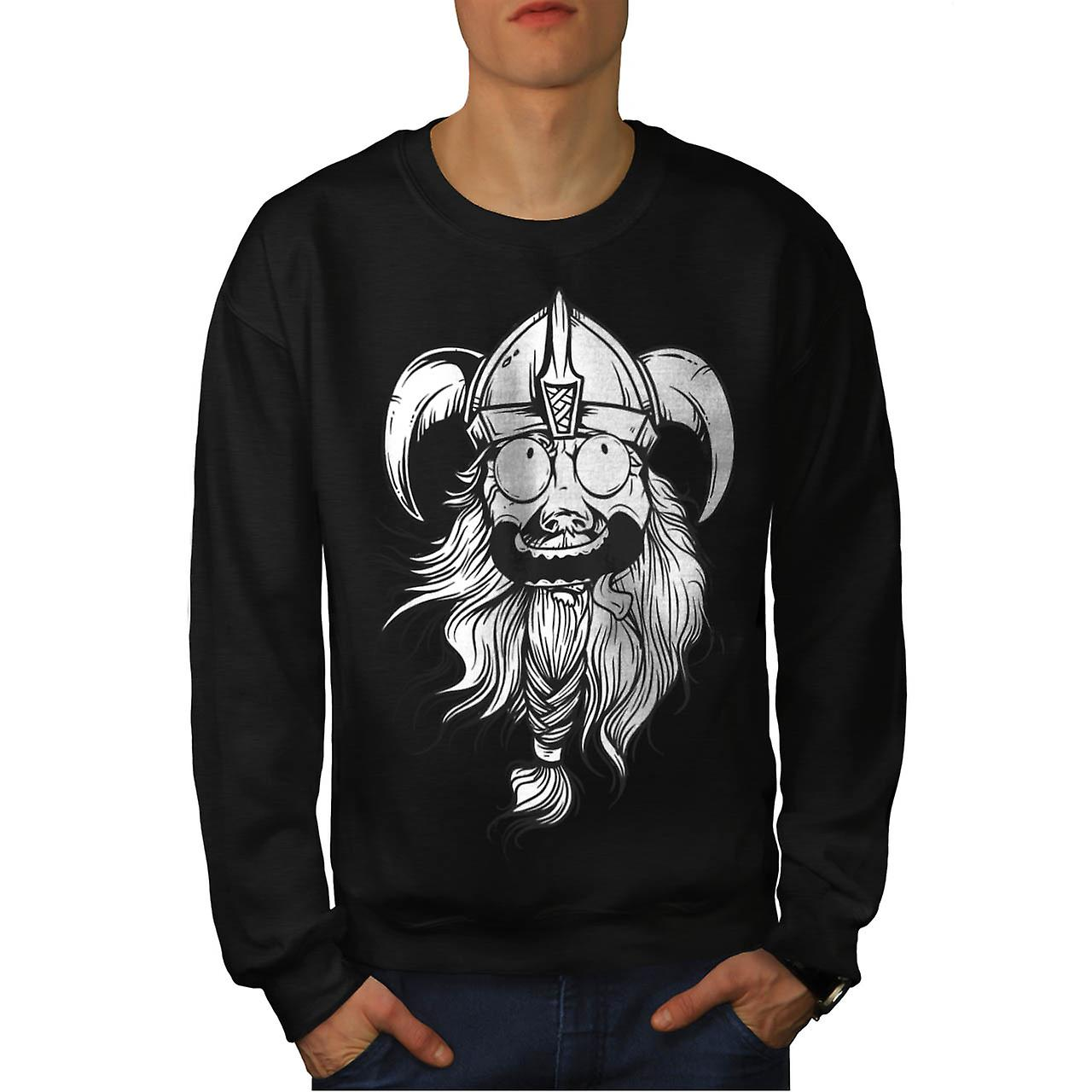Amazing Viking Head Nordic Boat Men Black Sweatshirt | Wellcoda