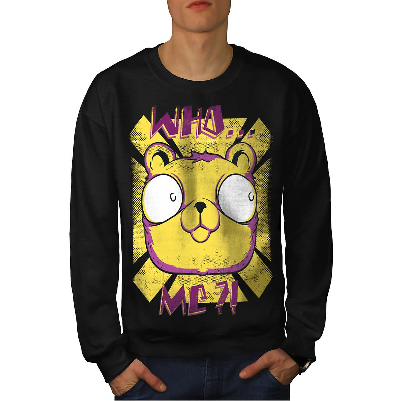 Who Me? Cute Bear Fashion Men Black Sweatshirt | Wellcoda