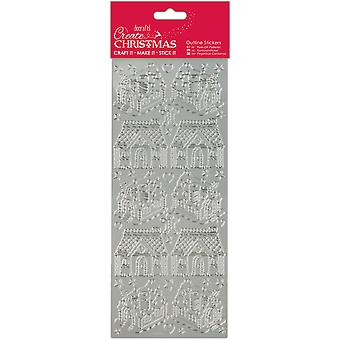 Papermania Create Christmas Outline Stickers-Silver Gingerbread Houses PM810926