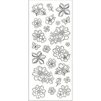Living In Color Art Therapy Glitter Stickers-Flowers LIC620-E