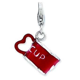 Sterling Silver Enameled 3-d Heart Cup With Lobster Clasp Charm - 2.6 Grams
