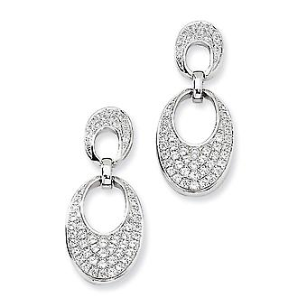 Sterling Silver Rhodium-plated and Cubic Zirconia Fancy Dangle Post Earrings