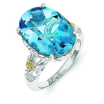 Sterling Silver With 14k Blue Topaz Ring - Ring Size: 6 to 8