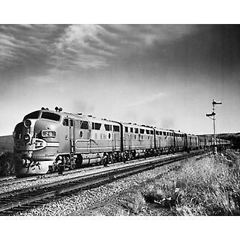 Passenger train on a railroad track Santa Fe Super Chief Poster Print