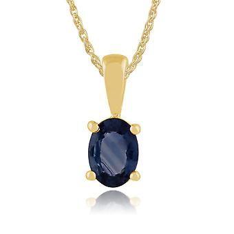 Gemondo 9ct Yellow Gold 1.11ct Oval Light Blue Sapphire Pendant on Chain