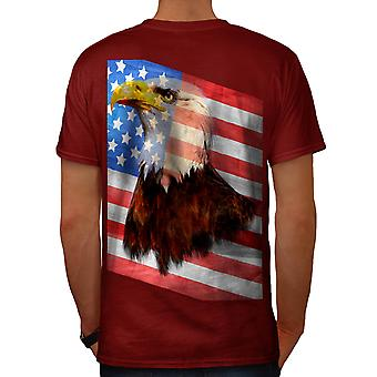 Freedom Flag Eagle USA Men Red T-shirt Back | Wellcoda