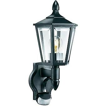 Outdoor wall light (+ motion detector) Energy-saving bulb, LED E27 60 W Steinel L 15 617813 Black