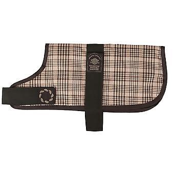 Padded Waterproof Coat Brown Check 66cm (26